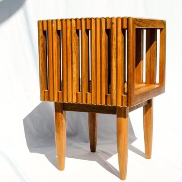 Slatted Side Table Midcentury Contemporary Iroko Wood by FifteenDegree