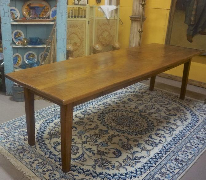 Antique English Country Farm Dining Library Table | 9' | Seats 10-12