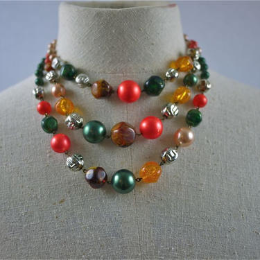 50s 60s Bright Beaded Mutli-Strand Tiered Necklace by citybone