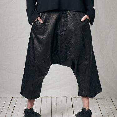 Leather Drop Seat Hang Loose Trousers