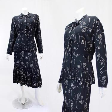 VOLUP 1940s Novelty Print Suit - 1940s Rayon Suit - 1940s Blouse - 40s Skirt - 40s Rayon Skirt - 40s Rayon Blouse | Size Large / Extra Large by VeraciousVintageCo