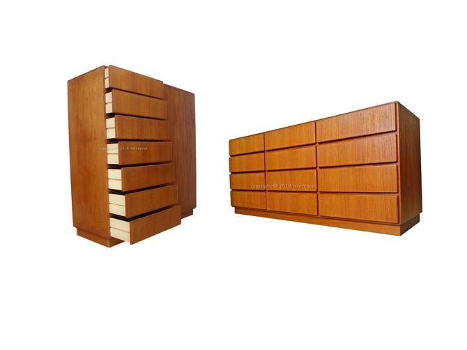 2pc Matching Danish Modern Teak Dresser + Gentleman's Chest By Komfort = Dyrlund, Torring, Keibaek Bedroom by RetroSquad