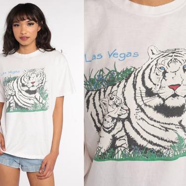 White TIGER Shirt 80s Las Vegas Tee Animal Tshirt Graphic Big Cat Retro T Shirt Cotton Screen Print Tee Vintage 1980s Medium Large by ShopExile