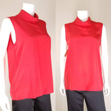 1990s Red High Neck Sleeveless Blouse, Medium, 12 ~ Silk Cocktail Blouse ~ Vintage I. Magnin Deadstock ~ Flared Free Bust Blouse by SoughtClothier