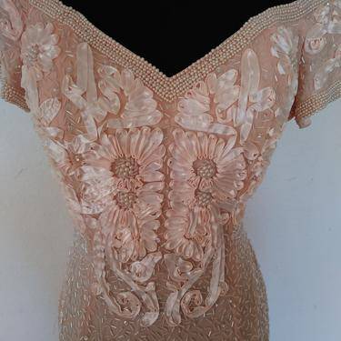 Vintage Beaded BALUCHI dress, peach beaded wedding dress, mother of the bride dress, pearl embellished formal gown soft pink, medium m 10 by ShopRVF