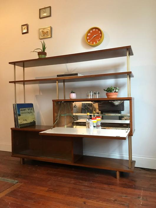 mid century bookshelf mid century drop front bar cabinet mid century room divider by VintaDelphia