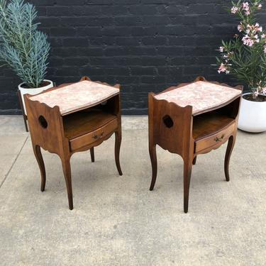 Vintage French Provincial Nighstands / End Tables with Marble Tops, 1960's by VintageSupplyLA