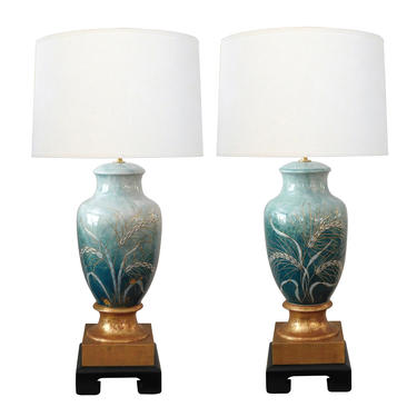 Pair Signed Camille Tharaud (1878-1956) Enameled Porcelain Lamps; Limoges