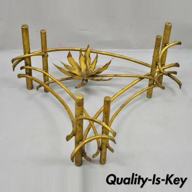 Silas Seandel Lotus Flower Gold Gilt Iron Faux Bois Brutalist Coffee Table Base