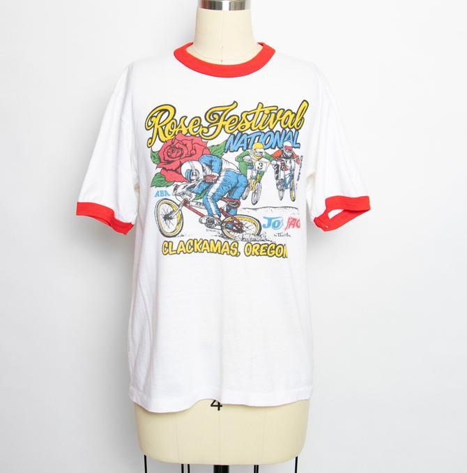 1980s T-Shirt Thin Ringer Tee Dirt Bike Racing M by dejavintageboutique