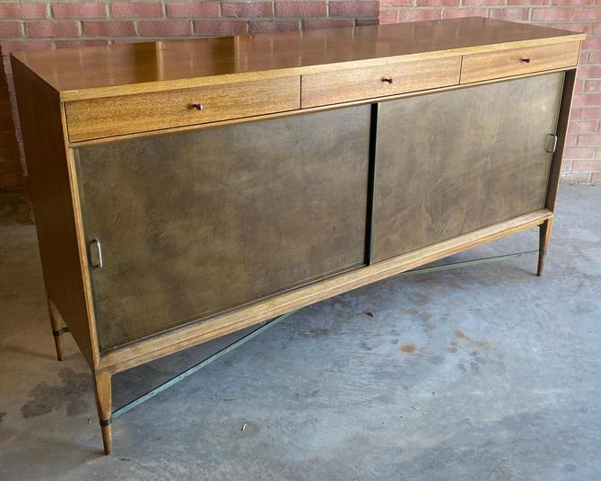 Rare Paul McCobb Calvin Group Blond and Brass Credenza by MSGEngineering