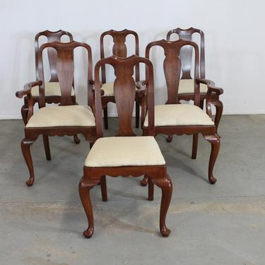 Set of 6 Solid Cherry Henkle Harris Dining Chairs by AnnexMarketplace