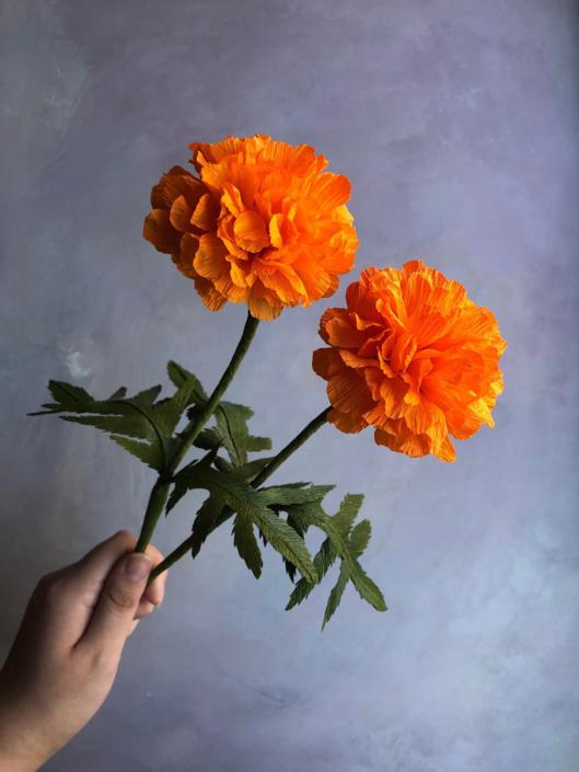 Crepe Paper Marigold -- Paper Flowers for Weddings - Home Decor - Floral Wholesale by ReveryPaperFlora