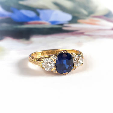 Antique English Victorian Natural Blue Sapphire Old Mine Cut Diamond Engagement Ring 18k Yellow Gold by YourJewelryFinder
