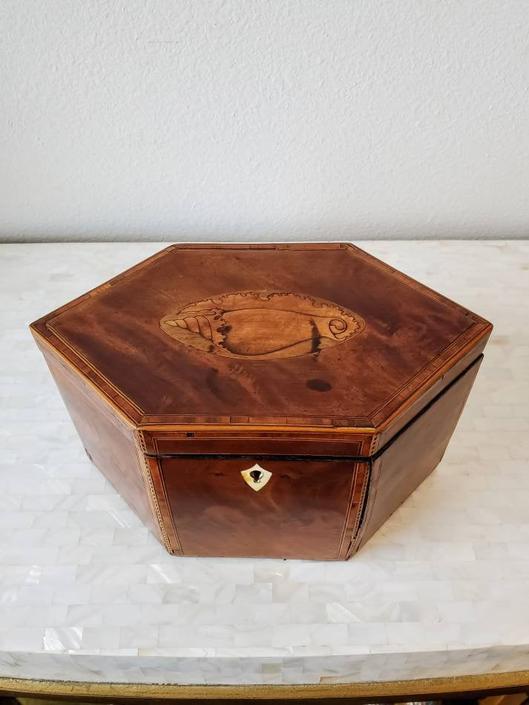18th/19th Century English Georgian Period Mahogany Marquetry Inlaid Tea Caddy by LynxHollowAntiques