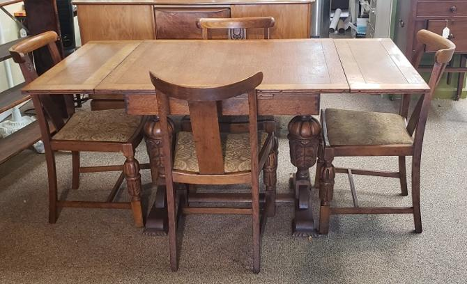 Item #R104 English Oak Art Deco Dining Set c.1940s