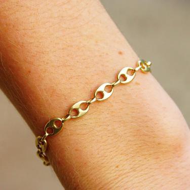 "Vintage 14K Yellow Gold Mariner Chain Bracelet, 1/4"" Double Loop Links, Modernist Gold Bracelet, 585 Jewelry, 6 3/4"" L by shopGoodsVintage"