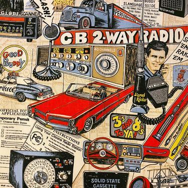 RARE! Vintage 70s CB Radio Fabric • Curtain Drape Material • Police Fire Fighter Big Rig Truck Trucker Cassette Tape Print • Kids Man Cave by elliemayhems