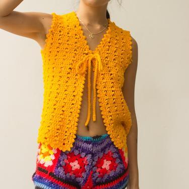 1970s Sunshine Crocheted Single Tie Vest by waywardcollection