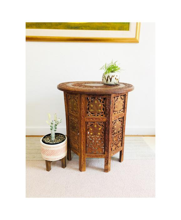 Vintage Circular Carved Wood Side Table / FREE SHIPPING by SergeantSailor