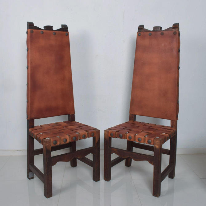 SPANISH Colonial TALL Wood Chairs Woven Saddle Leather style Luis BARRAGAN by AMBIANIC