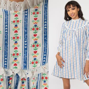 70s Floral Dress Lanz Eyelet Lace Dress Tent Dress Blue White Cotton Mini Summer Festival Hippie Bohemian Vintage Trapeze Boho Small by ShopExile