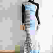 Oscar de la Renta Striped Bow Gown