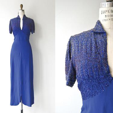 Reign Supreme beaded dress   vintage 1930s dress   long 30s dress by DEARGOLDEN