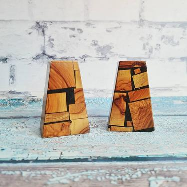 Israili Olive Wood Mosaic Salt and Pepper Shakers. Mosaic Wood, Made in Israel. Mid Century Modern Style by BellsAndWhistlesEtc
