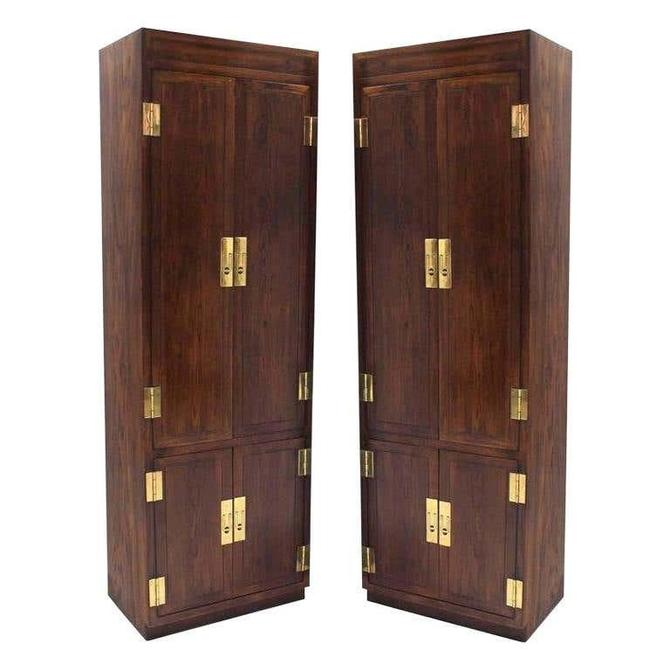 Pair of Henredon campaign scene one cabinets by Dianemarieshome
