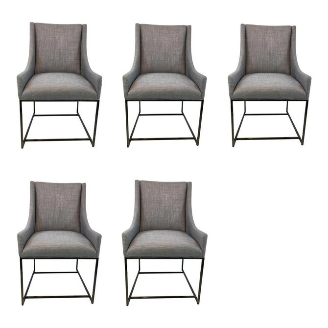 Organic Modern Caracole Prototype Gray Linen Blend Dining Chairs Set of Five