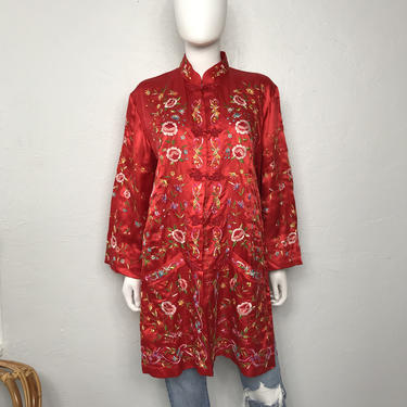 Vtg 50s 60s red silk floral embroidered chinese robe kimono jacket by AnimalVintageMiami