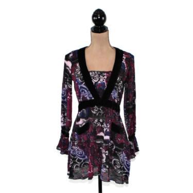 Long Sleeve Boho Top XS Small Romantic Empire Waist Blouse Batik Sheer Purple Print Shirt Ruffle Cuff Hippie Clothes Bohemian Women Clothing by MagpieandOtis
