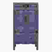 Chinese Distressed Gray Blue Lacquer Tall Armoire Storage Cabinet cs2238S