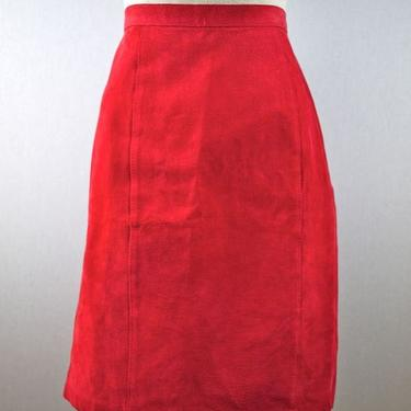 Red Leather Suede Pencil Skirt by citybone