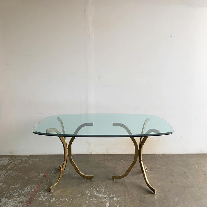 1980s Brass Dining Table by VintageOnPoint