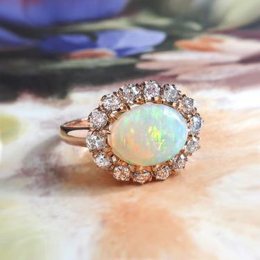 Opal Diamond Ring Victorian 2.02ct t.w. Australian Crystal Opal & Old European Cut Halo Engagement Birthstone Ring 18k Rose Gold by YourJewelryFinder