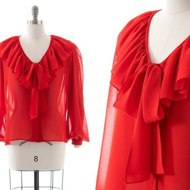 Vintage 1970s 1980s Blouse   70s 80s Sheer Red Chiffon Ruffled Pussy Bow Bishop Sleeve Button Up Top (medium/large) by BirthdayLifeVintage