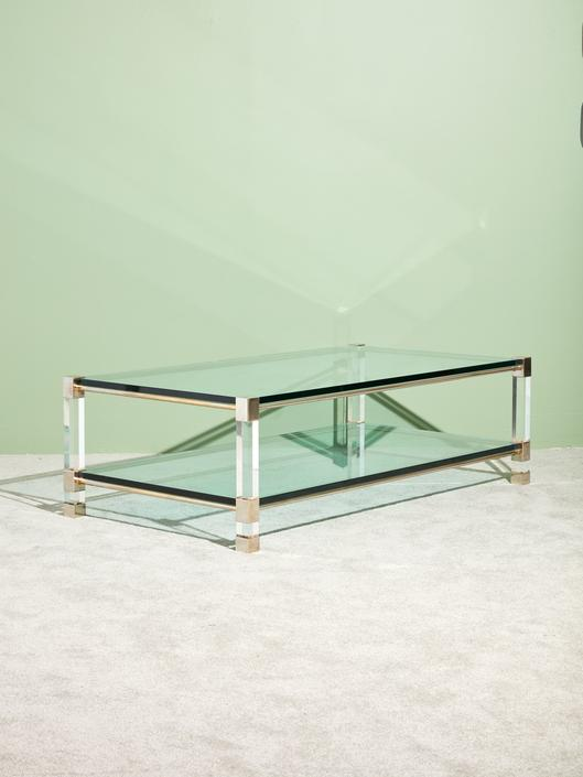Bi-Level Glass and Lucite Coffee Table