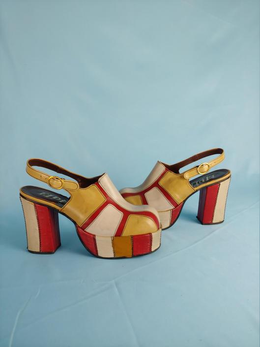 Vintage Seventies Eldita's Platform Mules - Size 6.5 - 70s Red and Tan Leather Sling Black Color Block Ultra High Platform Heels by JanetandJaneVintage