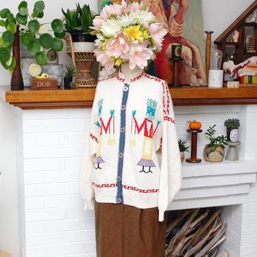 Vintage 1980s Southwestern Sweater - Multicolor Boho Knit Oversize Sweater - M by SecondShiftVintage