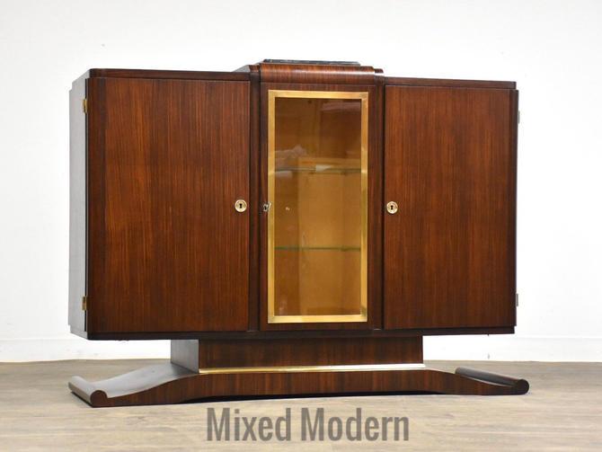 Art Deco Mahogany any Brass Sideboard Credenza by mixedmodern1