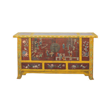 Chinese Distressed Yellow Rattan Scenery Graphic Console Table Cabinet cs4559E by GoldenLotusAntiques