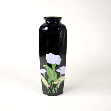 Vintage black vase with calla lily flower made in Japan by OmasaProjects