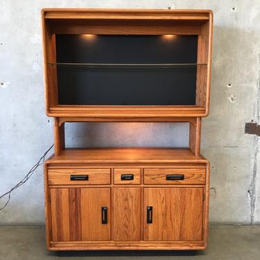 Vintage Two Piece Hutch with Lights