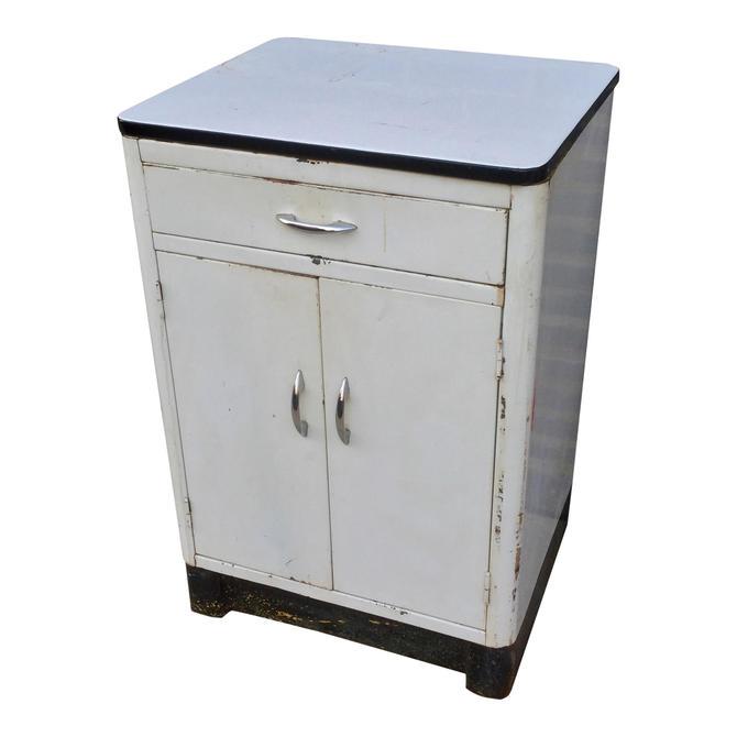 Vintage White Metal Garden Cabinet