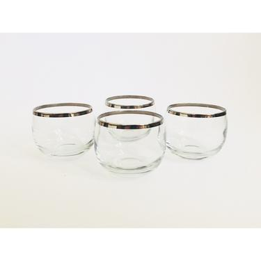 Vintage Silver Rimmed Roly Poly Glasses / Set of 4 by SergeantSailor