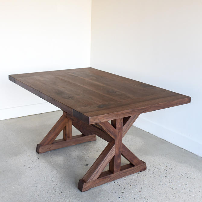 Trestle Dining Table / Farm Table / Solid Walnut Dining Table / Kitchen Table by wwmake