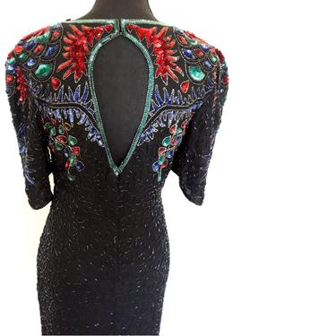 Vintage heavily embellished dress, black holiday party sequin dress, black beaded cocktail party dress, full length small s by RETROSPECTNYC