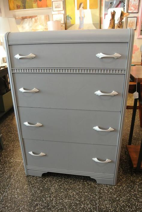 Grey painted art deco chest. $350